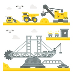 Flat design mining site equipment vector image vector image