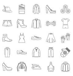sewing of footwear icons set outline style vector image