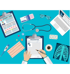 workplace doctor at table vector image