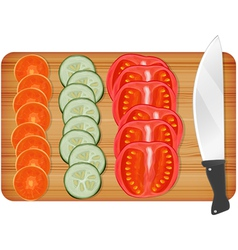 Cutting wooden board with vegetables vector image vector image