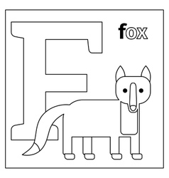 Fox letter F coloring page vector image