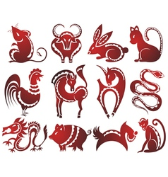 12 Chinese zodiac signs vector image