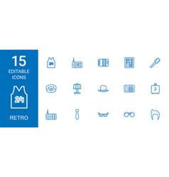 15 retro icons vector image