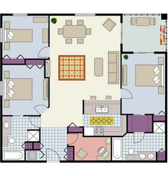 3 bed plus den furnished floor plan image vector image