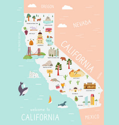 an map california with destinations vector image