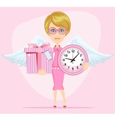Angel holding a pink watchs and gifts with vector