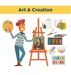 Art and creation promotional poster with painter vector