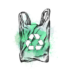 Bag with hatching recycling sign and green vector