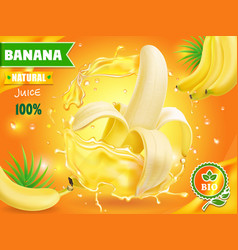 Banana juice advertising with juice splash vector