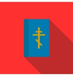 Blue bible book icon flat style vector image