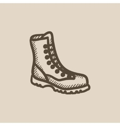 Boot with laces sketch icon vector