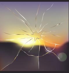 Broken and cracked window glass realistic vector