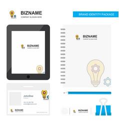 Bulb with gear business logo tab app diary pvc vector