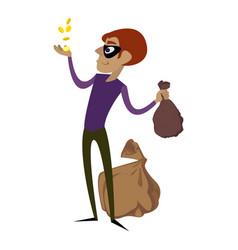 burglar take gold coins icon cartoon style vector image