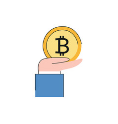 business man hand in suit holding bitcoin vector image