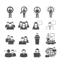 Business team demographic composition black icons vector image