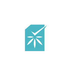 Cannabis certificate check logo icon vector