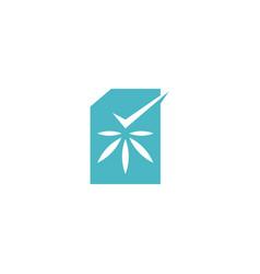 cannabis certificate check logo icon vector image