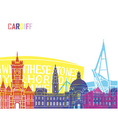 Cardiff skyline pop vector