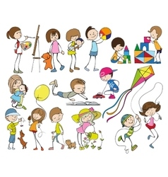 Cartoon Kids Set vector