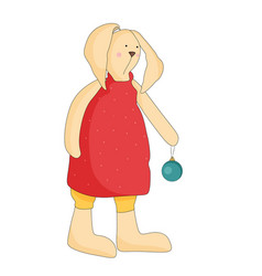 Cartoon rabbit bunny in red dress with a ball vector