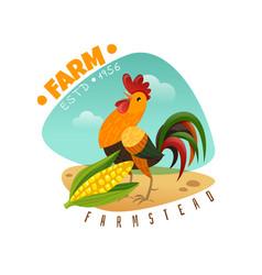 cartoon rooster emblem vector image