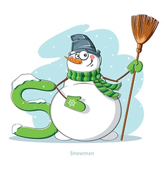 Cartoons alphabet - letter s with funny snowman vector