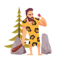 Caveman with a wooden club looking at the vector
