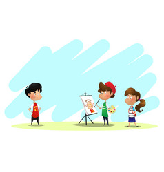 children drawing in art class vector image
