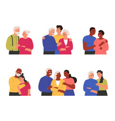 Children with parents and grandparents vector