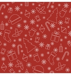 Christmas seamless pattern with line christmas vector image