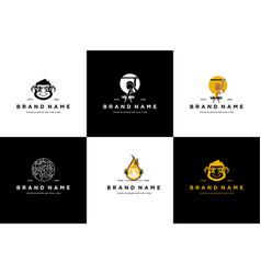 Collection monkey logo design vector