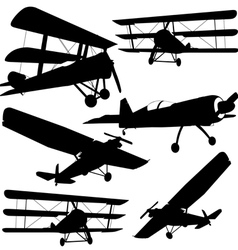 Collection of different combat aircraft silhouette vector image