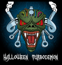 colorful halloween turbodemon poster vector image