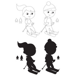 coloring young skiers silhouettes vector image