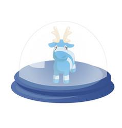 decorative globe with cute blue cartoon reindeer vector image