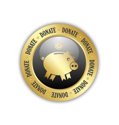 Donate piggy bank icon vector