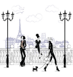 Fashion girls in sketch-style in paris fashion vector