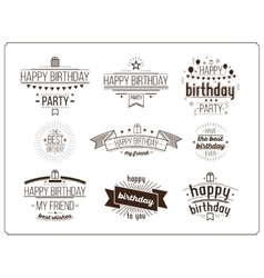 Festive Happy Birthday set vector