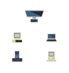 flat icon computer set of notebook processor vector image