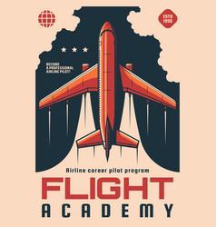 Flight academy training program retro poster vector