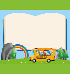 Frame template with kids on school bus vector
