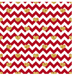 gold heart seamless pattern red-white geometric vector image