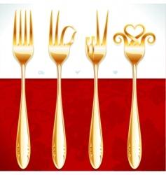 Golden fork gestures vector