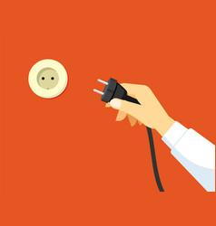 Hand brings plug socket switching vector