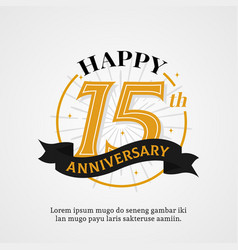 Happy 15th anniversary logo badge birthday event vector