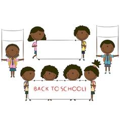 Happy African-American cute children vector image