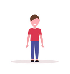 Happy brown hair boy standing pose little child vector
