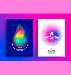 happy diwali poster with stylized oil lamp vector image