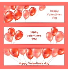 Happy Valentine day banners with pink and red vector